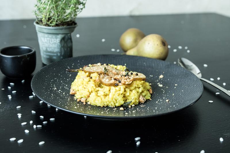 Vegan risotto met peer Kerst recept